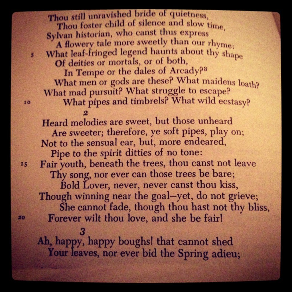 Seriously, Keats. WHAT ARE YOU SAYING?