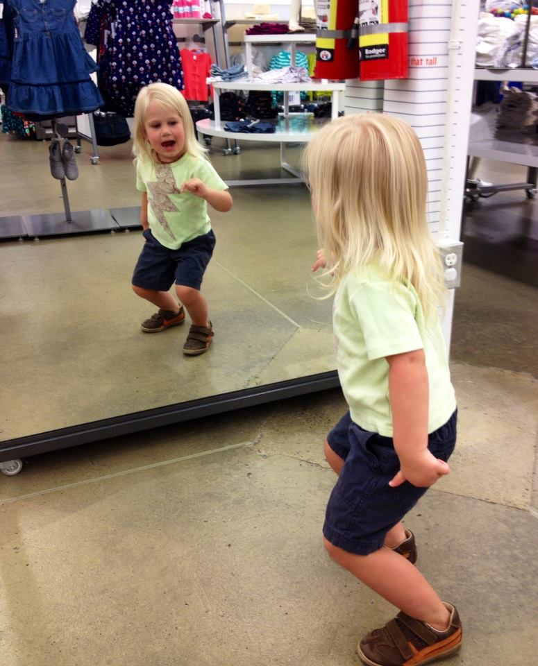 dancing in Old Navy, to a terrible techno song